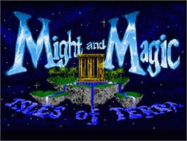 Title screen of Might and Magic III: Isles of Terra on the Nintendo SNES.