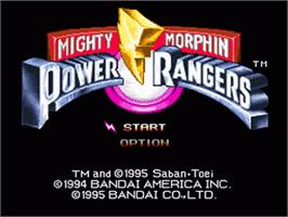 Title screen of Mighty Morphin Power Rangers: The Fighting Edition on the Nintendo SNES.