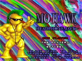 Title screen of Mo Hawk & Headphone Jack on the Nintendo SNES.