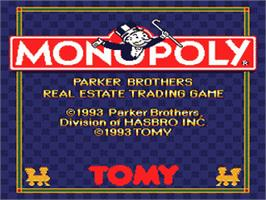Title screen of Monopoly on the Nintendo SNES.