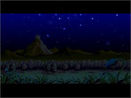 Title screen of Monstania on the Nintendo SNES.