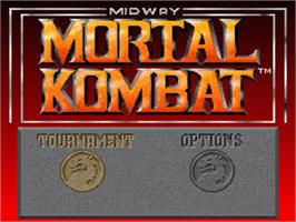 Title screen of Mortal Kombat on the Nintendo SNES.