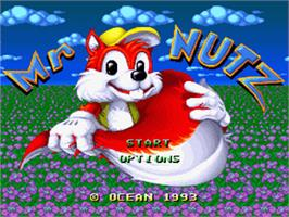 Title screen of Mr. Nutz on the Nintendo SNES.