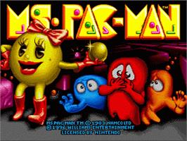 Title screen of Ms. Pac-Man on the Nintendo SNES.