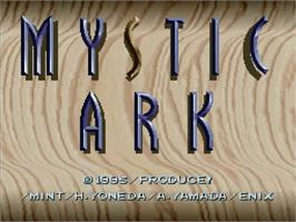 Title screen of Mystic Ark on the Nintendo SNES.
