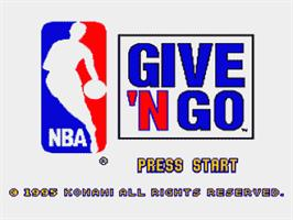Title screen of NBA Give 'n Go on the Nintendo SNES.