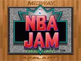 Title screen of NBA Jam on the Nintendo SNES.