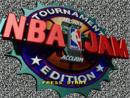 Title screen of NBA Jam Tournament Edition on the Nintendo SNES.