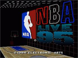 Title screen of NBA Live '95 on the Nintendo SNES.