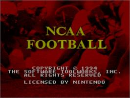 Title screen of NCAA Football on the Nintendo SNES.