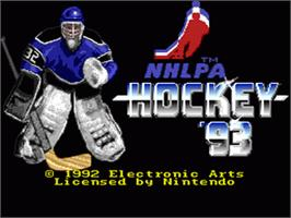 Title screen of NHLPA Hockey '93 on the Nintendo SNES.