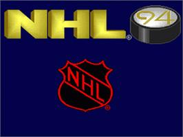 Title screen of NHL '94 on the Nintendo SNES.