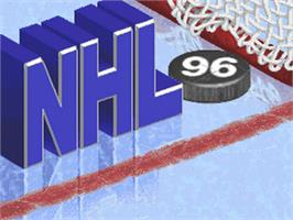 Title screen of NHL '96 on the Nintendo SNES.