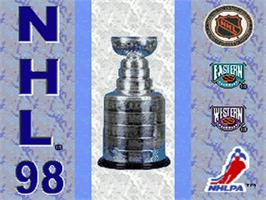 Title screen of NHL '98 on the Nintendo SNES.