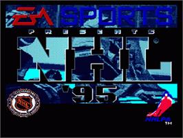 Title screen of NHL Hockey '95 on the Nintendo SNES.