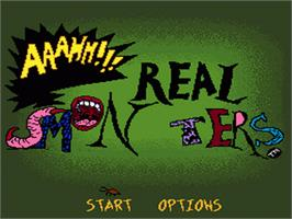 Title screen of Nickelodeon: Aaahh!!! Real Monsters on the Nintendo SNES.