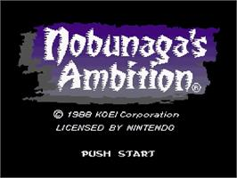 Title screen of Nobunaga's Ambition on the Nintendo SNES.