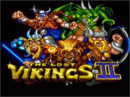 Title screen of Norse by Norse West: The Return of the Lost Vikings on the Nintendo SNES.