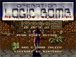 Title screen of Operation Logic Bomb on the Nintendo SNES.