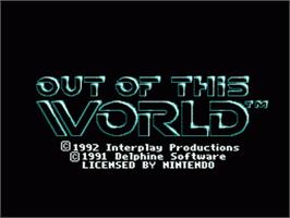 Title screen of Out of This World on the Nintendo SNES.