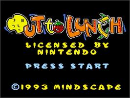 Title screen of Out to Lunch on the Nintendo SNES.