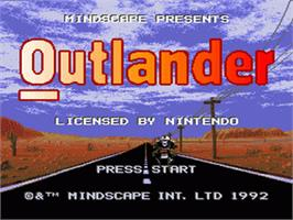 Title screen of Outlander on the Nintendo SNES.