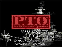 Title screen of P.T.O.: Pacific Theater of Operations on the Nintendo SNES.