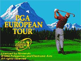 Title screen of PGA European Tour on the Nintendo SNES.