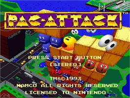 Title screen of Pac-Attack on the Nintendo SNES.
