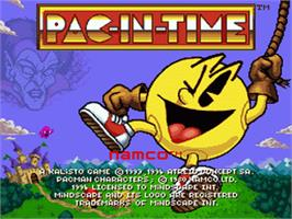 Title screen of Pac-in-Time on the Nintendo SNES.