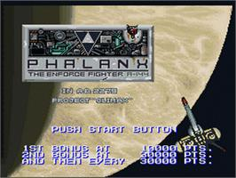 Title screen of Phalanx on the Nintendo SNES.