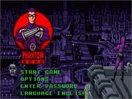 Title screen of Phantom 2040 on the Nintendo SNES.