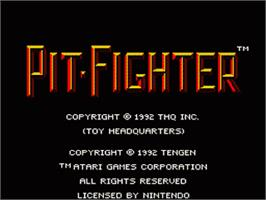 Title screen of Pit-Fighter on the Nintendo SNES.