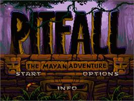 Title screen of Pitfall: The Mayan Adventure on the Nintendo SNES.