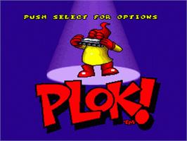 Title screen of Plok on the Nintendo SNES.