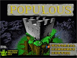 Title screen of Populous on the Nintendo SNES.