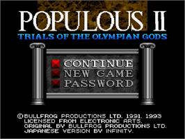 Title screen of Populous II: Trials of the Olympian Gods on the Nintendo SNES.