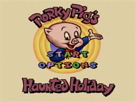 Title screen of Porky Pig's Haunted Holiday on the Nintendo SNES.