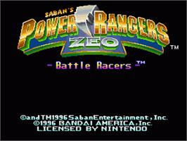 Title screen of Power Rangers Zeo: Battle Racers on the Nintendo SNES.
