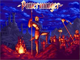 Title screen of Powermonger on the Nintendo SNES.