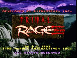 Title screen of Primal Rage on the Nintendo SNES.