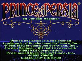 Title screen of Prince of Persia on the Nintendo SNES.