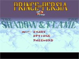 Title screen of Prince of Persia 2: The Shadow & The Flame on the Nintendo SNES.