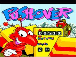 Title screen of Push-Over on the Nintendo SNES.