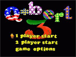 Title screen of Q*Bert 3 on the Nintendo SNES.