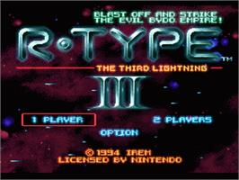Title screen of R-Type III: The Third Lightning on the Nintendo SNES.