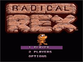Title screen of Radical Rex on the Nintendo SNES.