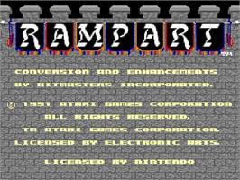 Title screen of Rampart on the Nintendo SNES.