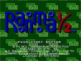 Title screen of Ranma 1/2: Hard Battle on the Nintendo SNES.