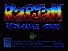 Title screen of Rap Jam: Volume One on the Nintendo SNES.